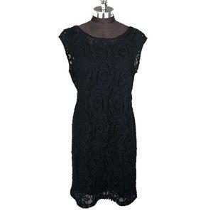 Daisy Fuentes Black Lace Overlay Sheath Dress